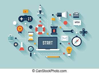 concetto affari, gamification, illustrazione
