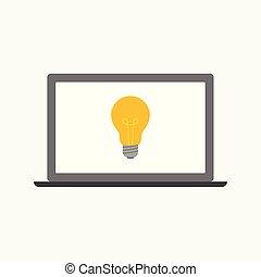 concetto, affari, luce, illustrazione, laptop, vettore, bulbo