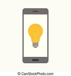concetto, affari, luce, illustrazione, vettore, bulbo, smartphone