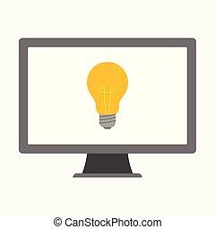concetto, affari, luce, illustrazione, vettore, computer, bulbo