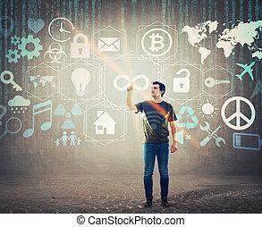 concetto affari, moderno, virtuale, services., tecnologia