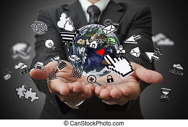 concetto, affari, mostra, internet, mani, uomo
