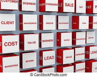concetto, affari, parole, 3d