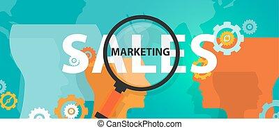 concetto, affari, pensare, marketing, vendite, analisi, miglioramento