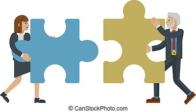 concetto affari, pezzo, caratteri, jigsaw confondono