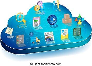 concetto, affari, processo, application., direttivo, linea, nuvola