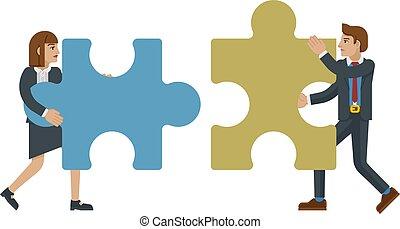 concetto, affari, puzzle, jigsaw, caratteri, pezzo