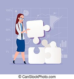 concetto, affari, puzzle, soluzione, donna, risolvere