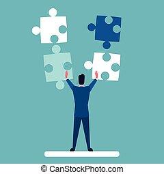 concetto, affari, puzzle, soluzione, risolvere, uomo