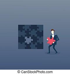 concetto, affari, puzzle, soluzione, strategia, risolvere, uomo