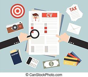 concetto, affari, riprendere, illustrazione, lavoro, vettore, intervista, cv