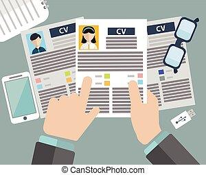 concetto, affari, riprendere, intervista lavoro, cv