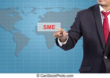 concetto, affari, schermo, -, virtuale, segno, toccante, uomo affari, sme, mano