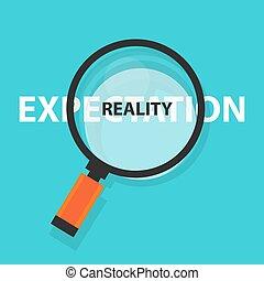 concetto, affari, simbolo, aspettativa, analisi, realtà, vetro, vs, ingrandendo