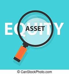concetto, affari, simbolo, flusso, contanti, analisi, o, vetro, bene, equità, ingrandendo