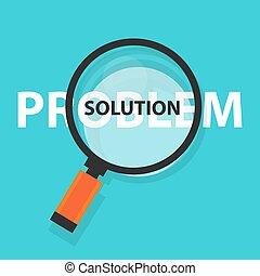 concetto, affari, simbolo, risolvere, soluzione, analisi, vetro, problema, ingrandendo