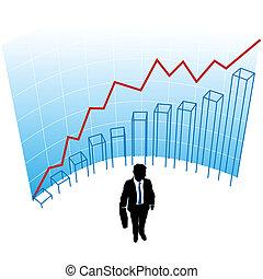 concetto, affari, successo, grafico, curva, grafico, uomo