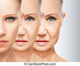 concetto, aging., procedure, bellezza, sollevamento, facciale, pelle, anti-invecchiare, serraggio, ringiovanimento