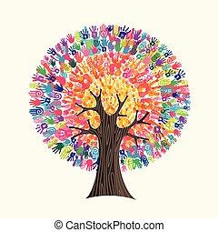 concetto, aiuto, colorito, albero, mano, sociale, stampa