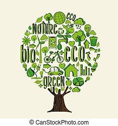 concetto, aiuto, eco, albero, ambiente, verde