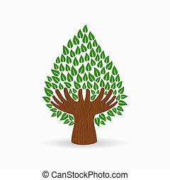 concetto, albero, illustrazione, mano, verde, umano