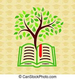 concetto, albero, libro, educazione