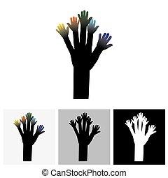 concetto, -, albero, vettore, mani, logotipo, icona