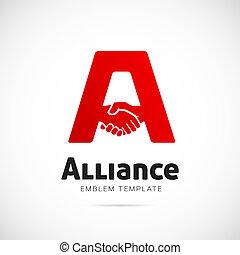 concetto, alleanza, simbolo, vettore, sagoma, logotipo, o, icona