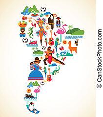 concetto, amore, icone, -, illustrazione, vettore, america, sud