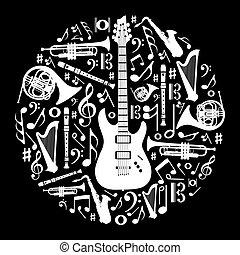 concetto, amore, illustrazione, sfondo nero, musica, bianco