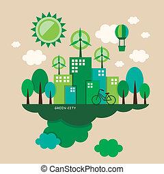 concetto, appartamento, ecologia, disegno, illustrazione