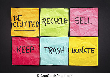 concetto, appiccicoso, declutter, note
