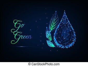 concetto, ardendo, goccia, polygonal, verde, basso, leaves., ecologia, acqua