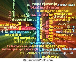 concetto, ardendo, wordcloud, multilanguage, diffidenza, fondo