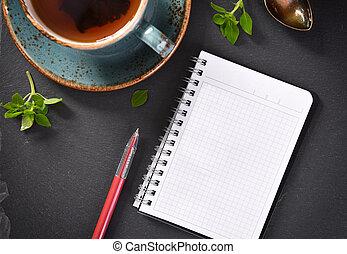 concetto, ardesia, ricetta, quaderno, board., vista., cima aperta