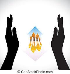 concetto, assicurare, famiglia, persone, mano., simboli, assicurazione casa, bambini, silhouette, &, contiene, illustrazione, mano, home(residence), rappresenta, come, icone, protection., concetti, sicurezza, genitori