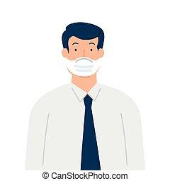concetto, assistenza sanitaria, prevenzione, maschera, il portare, uomo affari, chirurgico
