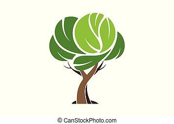 concetto, astratto, albero, vettore, logotipo, icona