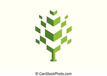 concetto, astratto, albero, vettore, verde, logotipo, icona