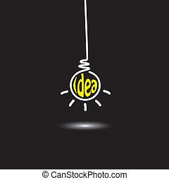 concetto, astratto, appendere, idea, inventivo, innovativo, risolvere, genio, -, mente creativa, uomo nero, far male, pensare, fondo, bulbo, icon., rappresenta, grafico, questo, luce, anche, pensiero, vettore, problema