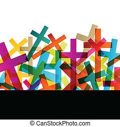 concetto, astratto, croce, cristianesimo, religione, vettore, fondo