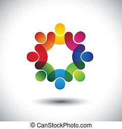 concetto, astratto, esecutivo, bambini, personale, standing, icone, lavorante, circle., anche, colorito, grafico, riunione, discussioni, rappresenta, bambini scuola, questo, unione impiegati, ecc, vettore, o
