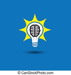 concetto, astratto, idea, cervello, inventivo, soluzioni, innovativo, risolvere, genio, mente, -, creativo, anche, ardendo, uomo, far male, pensare, bulbo, icon., rappresenta, grafico, questo, pensiero, vettore, problema