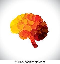 concetto, astratto, mente, cervello, vettore, ruote dentate, o, icona
