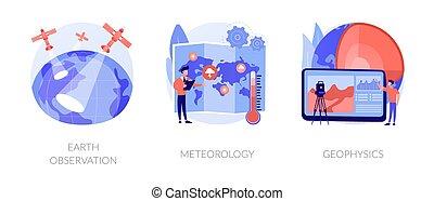 concetto, astratto, scienza, planetario, vettore, illustrations.