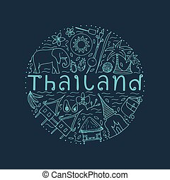 concetto, attrazioni, mano, disegno, disegnato, thailand., principale