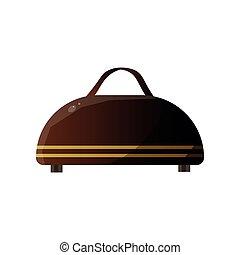 concetto, bagaglio, cuoio, viaggiare, illustrazione, tradizionale, vettore, valigia, viaggiatore