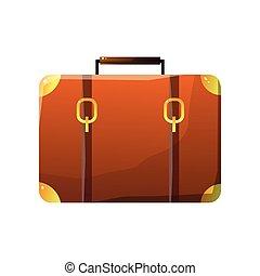 concetto, bagaglio, cuoio, viaggiare, illustrazione, vettore, retro, valigia, viaggiatore