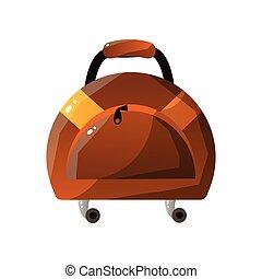 concetto, bagaglio, cuoio, viaggiare, illustrazione, vettore, valigia, viaggiatore, fatto rotare