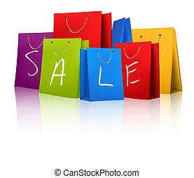 concetto, bags., discount., vendita, illustrazione, vettore, shopping
